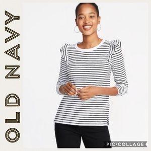 NWT•Old Navy • Striped Ruffled Long Sleeve Tee • M